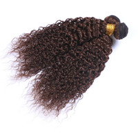Brazilian Hair Weaving Kinky Curly Hair Weave Short Long Extensões de cabelo humano Virgin Curly # 4 Brown Factory Wholsesale Preço