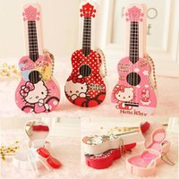 Wholesale Wholesale Packaged Tweezers - Hello Kitty Contact Lens Storage Set Cute Guitar contact lenses case box lens Companion box Lens Holder Case Tweezers Eye Care With Package