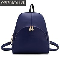Wholesale Book Bag Color - Wholesale- Annmouler Brand Backpacks for Teenagers Women Pu Leather Backpack Fashion 5 Color Shoulder Bag Large Capacity School Book Bag