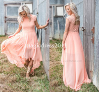 Wholesale Evening Dresses For Beach Party - 2017 Modern Peach Lace Bridesmaid Dresses for Country Wedding A-Line High Neck Hi-Lo Chiffon Bohemian Beach Wedding Party Evening Dresses