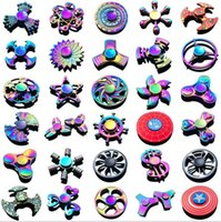 Wholesale 100pcs New pattern Colorful Hand Tri Spinner Fidgets Toy Torqbar alloy EDC Sensory Fidget Spinners For Autism And Kids Adult Funny th02