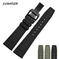 Wholesale 22mm nylon watch bands - JAWODER Watchband 20 21 22mm Stainless Steel Deployment Buckle Black Green Nylon with Leather Bottom Watch Band Strap for Portugal Pilots