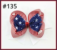 Wholesale 4th July Wholesale - free shipping 30pcs Newest 2014 4th of july hair bows Girl boutique hair bows Patriotic Bows