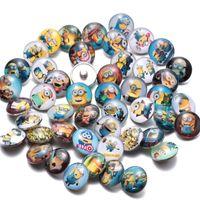Wholesale Bracelet Minion - New 18mm Ginger Snaps Button Glass Crystal Kawai Button Minions Pegman Pattern Fit Charm Bracelets Pendant DIY Jewelry noosa chunks