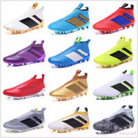 2017 Discount Football Shoes Originals ACE 16+ PureControl FG Soccer Shoes Men Soccer Cleats De qualidade superior 18 cores EuroCup Size 39-46