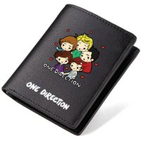 Wholesale 1d Cartoon - One direction wallet 1D fans purse Music star cash note case Money notecase Loose change burse bag Card holders