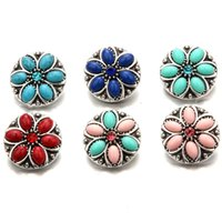Wholesale Vintage Diy Flower - Vintage Round 18mm Interchangeable Noosa Snap Buttons Flower Ginger Snap Jewellry DIY Necklace Bracelet Jewelry Accessory