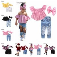 Wholesale girls jeans for sale - Group buy Children Set Kids Suit Outfits Girl Clothes Flat Shoulders short Sleeve Top Jeans headband Child Suit Kids Sets Girls Outfits