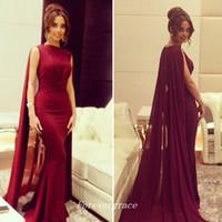 Wholesale Arabic Style Long Dresses - Elegant Long Arabic Style Burgund Red Evening Dress Mermaid Muslim Sweep Train Formal Prom Party Gown Custom Made Plus Size