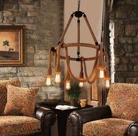 candelabros de salón al por mayor-Envío gratis loft cuerda araña de hierro forjado estadounidense lámparas colgantes y creativo Lounge Bar Cafe iluminación LLFA