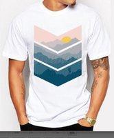 Wholesale Mountain Tee Shirts - Newest 2017 men's fashion short sleeve mountain printed t-shirt Harajuku funny tee shirts Hipster O-neck cool tops