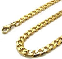 "Wholesale Mens Flat Link Necklace - 4mm 5mm 6mm 316L Stainless Steel Mens Gold Plated Faceted Flat Hammered Curb Chain Necklace (18""-24"" inches)"