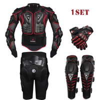 Wholesale gear body armor for sale - HEROBIKER Black Motorcycle Racing Body Armor Protective Jacket Gears Short Pants Motorcycle Knee Protector Moto gloves set