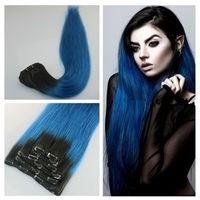 Wholesale Light Blue Human Hair Extensions - 1b blue Ombre Clip in Human Hair Extensions 7Pcs Human Hair Clip in Extensions Straight Hair Clip ins