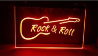 Wholesale Led Signs Guitar - Rock and Roll Guitar Music beer bar pub club 3d signs led neon light sign home decor crafts