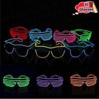 óculos de sol brilhantes venda por atacado-Simples El Óculos El Fio de Moda Neon LED Light Up Em Forma de Obturador Brilho Óculos de Sol Rave Traje Do Partido DJ Brilhante Óculos De Sol CCA6535 300 pcs