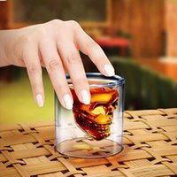Wholesale Drinking Bottle Party - 2017 Doomed Crystal Skull Head Double Wall Vodka Shot Glass Cup for Home Bar Birthday Party Beer Wine Whisky Drinking Glasses Cup XL-G78