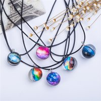 Wholesale Singapore Star - Fantasy Star Necklace Double Sided Glass Ball Pendant Gem Of Time Universe Star Necklace for Women's Fashion Gift