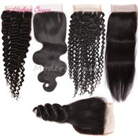 Wholesale Ombre Brazilian Hair Kinky Curly - Brazilian Hair Lace Closure 4x4 Size Peruvian Malaysian Indian Cambodian Mongolian Body Wave Straight Deep Kinky Curly Human Hair Closures