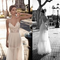 Wholesale design beach wedding dress - New Crystal Design Sexy Backless 2017 A line Wedding Dress Spaghetti V-Neck sleeveless Appliques Collar Empire Illusion Floor-length Dresses