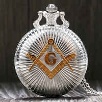 Wholesale masonic silver resale online - Fashion Silver Golden Masonic Free Mason Freemasonry Theme Pocket Watch With Necklace Chain Best Gift For Men Women