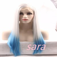 Two Tone Ombre Blue Wig Straight Sintético Lace Frente Perucas Long Fashion White To Gray Straight Hair Sintético Lace Front Wig