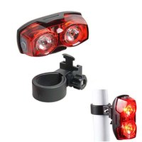 Wholesale Flash Components - Wholesale- Bicycle tail Lights 2 LED 3 Mode LED Warning light Cycling Back Bright Tail Light Safety Flashing Rear Lights Riding components