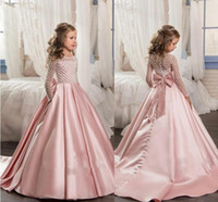 Wholesale Grils Tulle - 2017 Pink For Girls First Communion Dresses Long Sleeve A Line Junior Pageant Gown With Bow Flower Grils Dress Custom Made