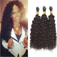 cabelos premium kinky venda por atacado-Prémio Encaracolado Cabelo Humano A Granel Não Trama Barato Brasileira Kinky Curly Hair em Massa para Tranças Sem Anexo 3 Pcs