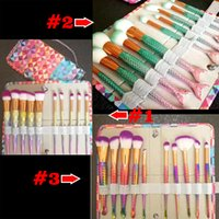 Wholesale Bright Horn - 2017 Mermaid Makeup brushes sets cosmetics brush 10 bright color Spiral shank 3D Colorful unicorn screw makeup tools DHL