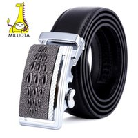 Wholesale Wholesale Leather Belts For Men - Wholesale- [MILUOTA] High Quality Male New Brand Genuine Leather Belts for Men Crocodile Pattern Automatic Buckle Strap MU087