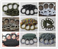Wholesale Hot Gilt - hot dragon safety equipment finger tiger GILDED THICK STEEL BRASS KNUCKLE DUSTER Protective Gear women men 4 colors self-defense equipment