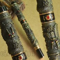 Wholesale Pen Dragon Pearl - JINHAO NOBLEST ANTIQUE BRASS TWO DRAGON PLAY PEARL FOUNTAIN PEN 0.7mm BROAD NIB