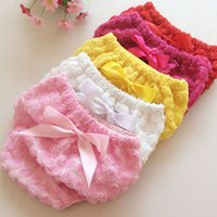 Wholesale New Baby Bloomers - New Wholesale Girls Baby Clothes Roses floral bow Girls Summer Shorts Baby Bloomers Baby Shorts Fashion Infant Clothes Newborn Clothes A1207