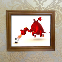 Wholesale people oil painting canvas - Single Unframed Foo Red Dragon and Charred Little People HD Print On Canvas Wall Art Oil Painting For Living Room Decor