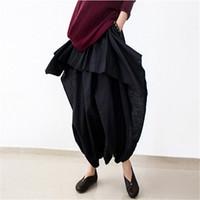 Wholesale Skirt Women Asymmetric - Johnature 2016 New Women Wide Leg Loose Linen Cotton Asymmetric Pants Original Designer Plus Size Capris Elastc Waist Skirt