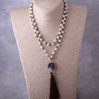 Fashion White Turquoise Stones Chaîne de chaume Druzy Link Collier long de gland Collier en pierre naturelle à la main