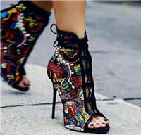 chaussons en cristal achat en gros de-Design de luxe comique strass clouté chaussures de mariée femme peep toe bottillons en daim lacets stiletto hauts talons bottines en cristal