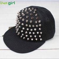 Wholesale Wholesale Spiky Caps - Wholesale- CharmDemon Men Woman Hedgehog Rock Hip Hop Silver Rivet Stud Spike Spiky Hat Baseball Cap jn28