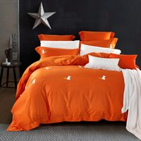 Wholesale Embroidery Hand Towel - Free shipping Orange 100% Cotton towel embroidery Bedding sets 4Pcs,1 PC Bed sheet 1PC Comforter Cover 2 PCS pillowcase.