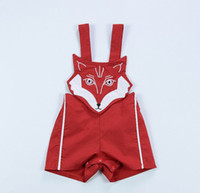 Wholesale Cartoon Overall Boys - 2017 Summer New Baby Overalls Red Cartoon Fox Infant Sleeveless Cotton Boy Girl Romper Jumpsuit Toddler Clothing 0-2Y D0022