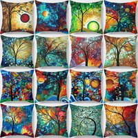 Wholesale 45CM Multicolor Oil painting Decorative Pillow Case Sofa Bed Car Cushion Seat Cover Throw Pillow Cover living room bedroom decor