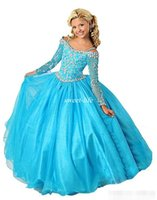 Wholesale Infant Pageant Dresses Sleeves - Kids Girls Pageant Dresses for Sale Beads 2017 Cheap Spaghetti Vestido Infant with Long Sleeves Wedding Flower Girl Dresses Blue Ball Gowns