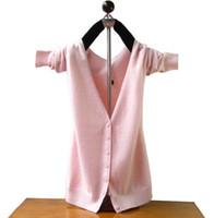 frauen kaschmir-cardigans großhandel-Heißer verkauf kaschmir strickjacke frauen pullover winter und herbst warme wollpullover mit v-ausschnitt designer strickjacken shirt