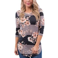 Wholesale Flower Print Tops - 2017 Plus Size T-shirts Women With Flower Print Fashion White Pullover Blouses Casual Tops With O-Neck Autumn Woman Blouse Clothes