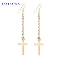 Wholesale Dangle Diamond Cross Earrings - CACANA Long Earrings Gold Plated Cross Dangle Earrings For Women Top Quality With CZ Diamond Bijouterie Hot Sale No.A199