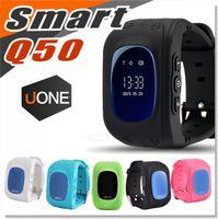 teléfonos de banda cuádruple al por mayor-teléfono inteligente inteligente reloj Q50 niños Tracker GPS Niños SIM del teléfono de cuádruple banda GSM de seguridad SOS Call PK Q80 Q90 SmartWatch para Android