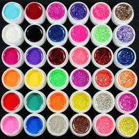 Wholesale Glitter Gel 36 - Wholesale- 36 Pcs Mix Color Pure Glitter Hexagon Sheet UV Builder Gel For Nail Art Tip Set