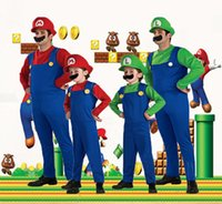 Wholesale Kids Cosplay Costumes Cheap - 2017 Hot Cheap Halloween Cosplay Costumes Super Mario Luigi Brothers Fancy Dress Up Party Cute Costume For Adult Children In Stock FS3120