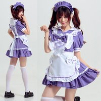 Wholesale Maid Costume Lingerie - Women Cosplay Maid Sexy Lingerie Set pajamas Uniform Seduction Cosplay Role Playing Romantic Purple Dresses